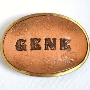 Other - Vintage GENE Brown Leather Belt Buckle